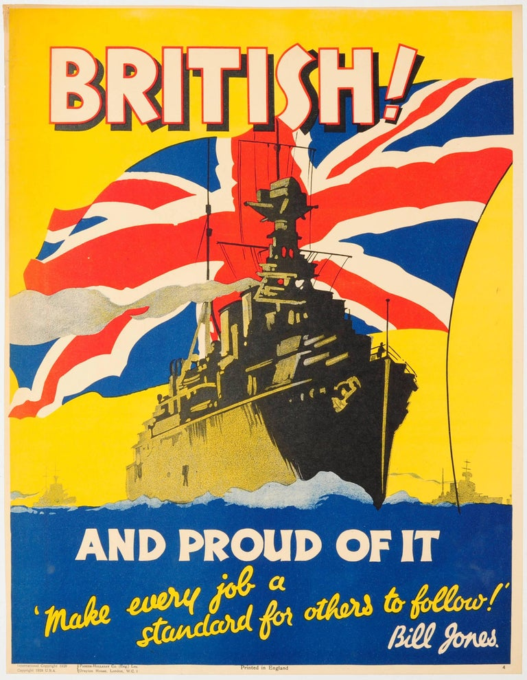 Unknown Print - Original Vintage 1928 Bill Jones Motivational Poster - British And Proud Of It