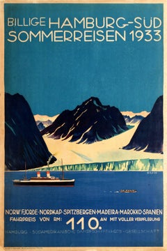 Original Vintage Art Deco Cruise Ship Travel Poster For Hamburg Sud Summer Trips