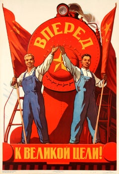 Original Vintage Soviet Poster - Forward To The Great Goal - Russia And China