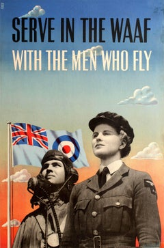 Original WWII Royal Air Force Poster - Serve In The WAAF With The Men Who Fly