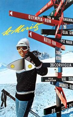 Original Vintage Swiss Ski Poster For St Moritz - Olympia Run Nater Run Piz Nair
