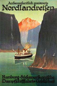 Original Vintage Hamburg Sud Nordlandreisen Cruise Ship Travel Poster For Norway