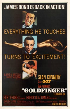 Original Vintage 007 Movie Poster For Goldfinger - James Bond Is Back In Action