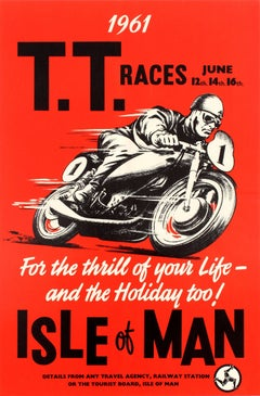 Rare Original Vintage Motorcycle Racing Poster For The 1961 Isle of Man TT Race