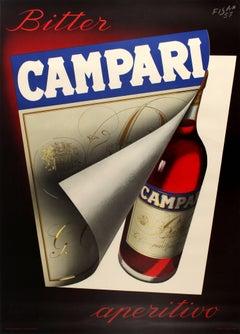 Large Original Vintage Italian Drink Poster By Fisa For Bitter Campari Aperitif