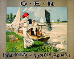 Large Original Vintage GER Railway Poster An Ideal Holiday On The Norfolk Broads