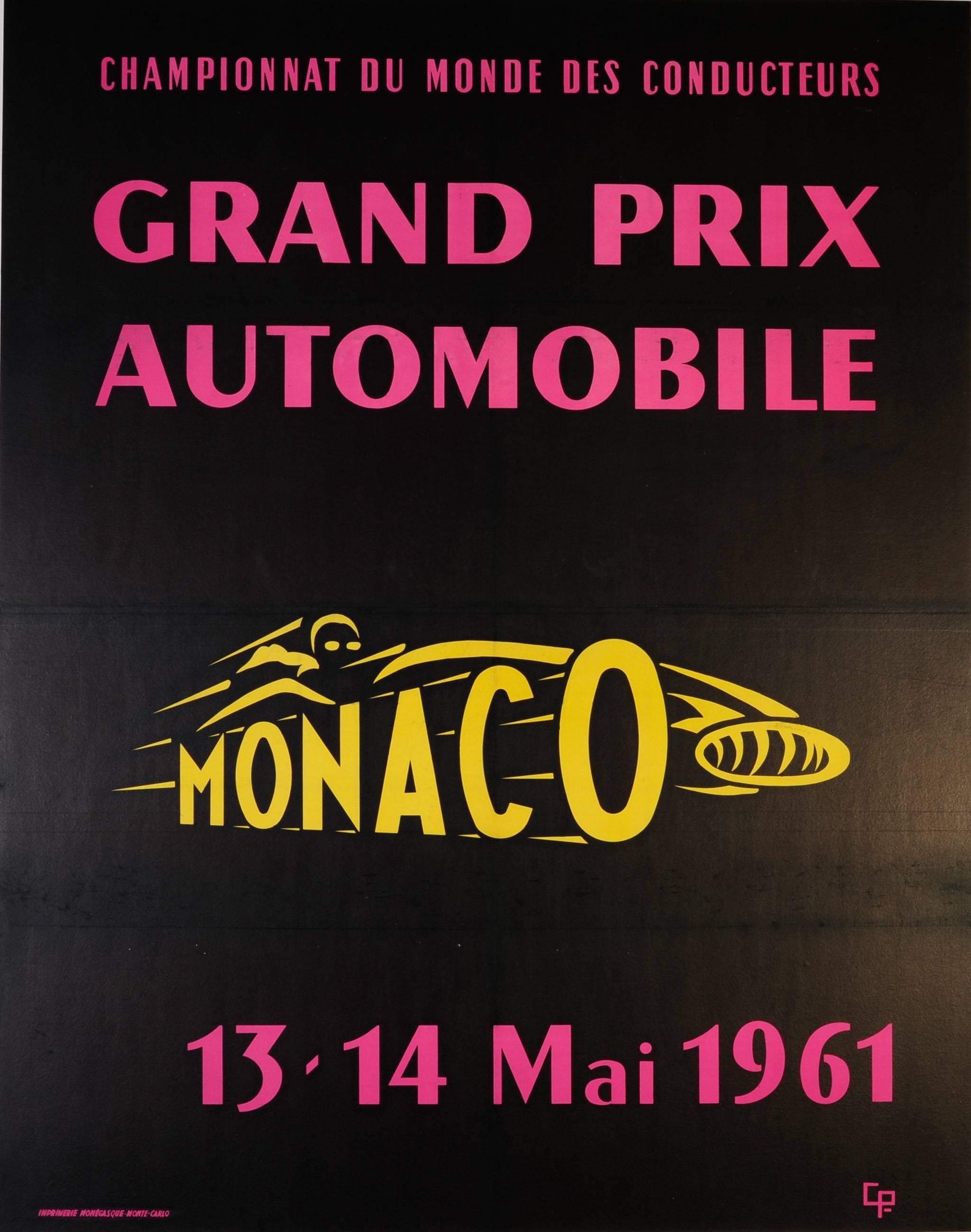 Large Original Vintage Car Racing Sport Event Poster - Monaco Grand Prix 1961