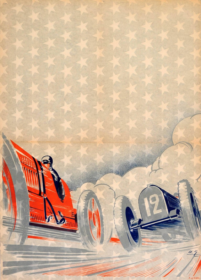 unknown rare early original art deco car racing poster featuring a classic car race print for. Black Bedroom Furniture Sets. Home Design Ideas