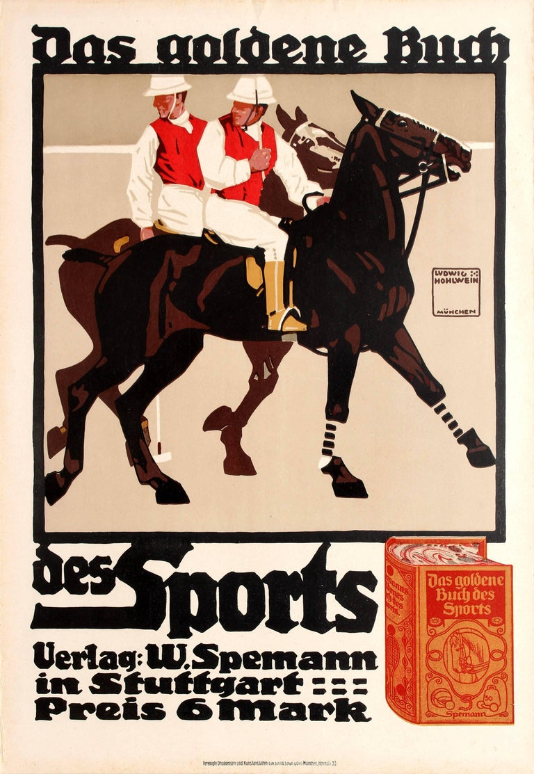 Ludwig Hohlwein Print - Original Antique Poster By Hohlwein For The Golden Book Of Sports Featuring Polo