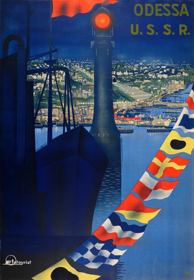 Original Vintage Soviet Intourist Travel Poster For Odessa USSR On The Black Sea