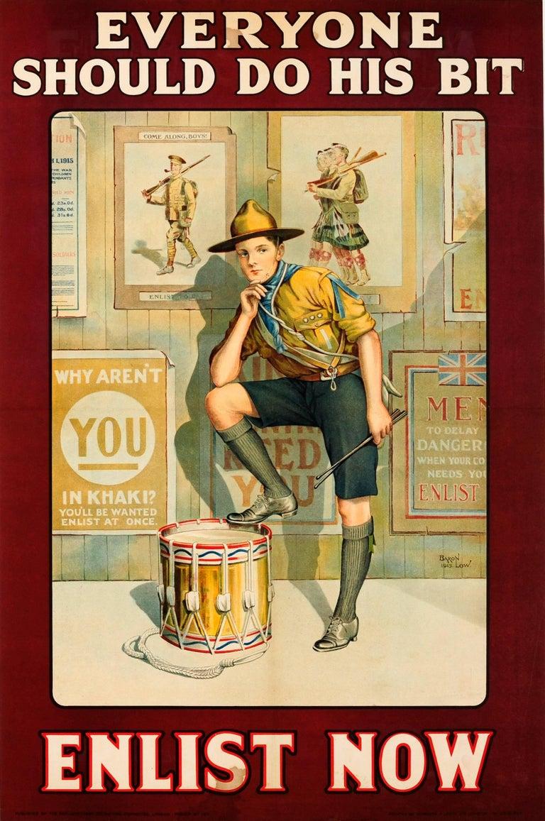 Baron Low Print - Original British WWI Recruitment Poster - Everyone Should Do His Bit Enlist Now