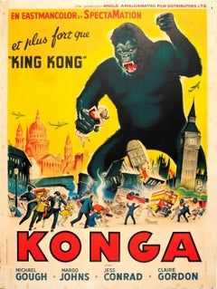 Large Original Vintage Movie Poster For The Science-Fiction Horror Film Konga