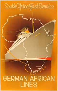 Original Art Deco German African Lines Cruise Poster For South Africa - Pretoria