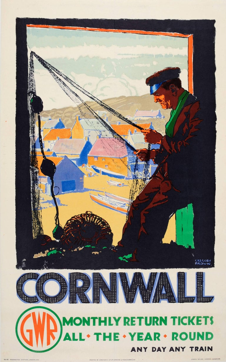 Frederic Gregory Brown Print - Original Vintage GWR Great Western Railway Travel Poster For Cornwall By Train