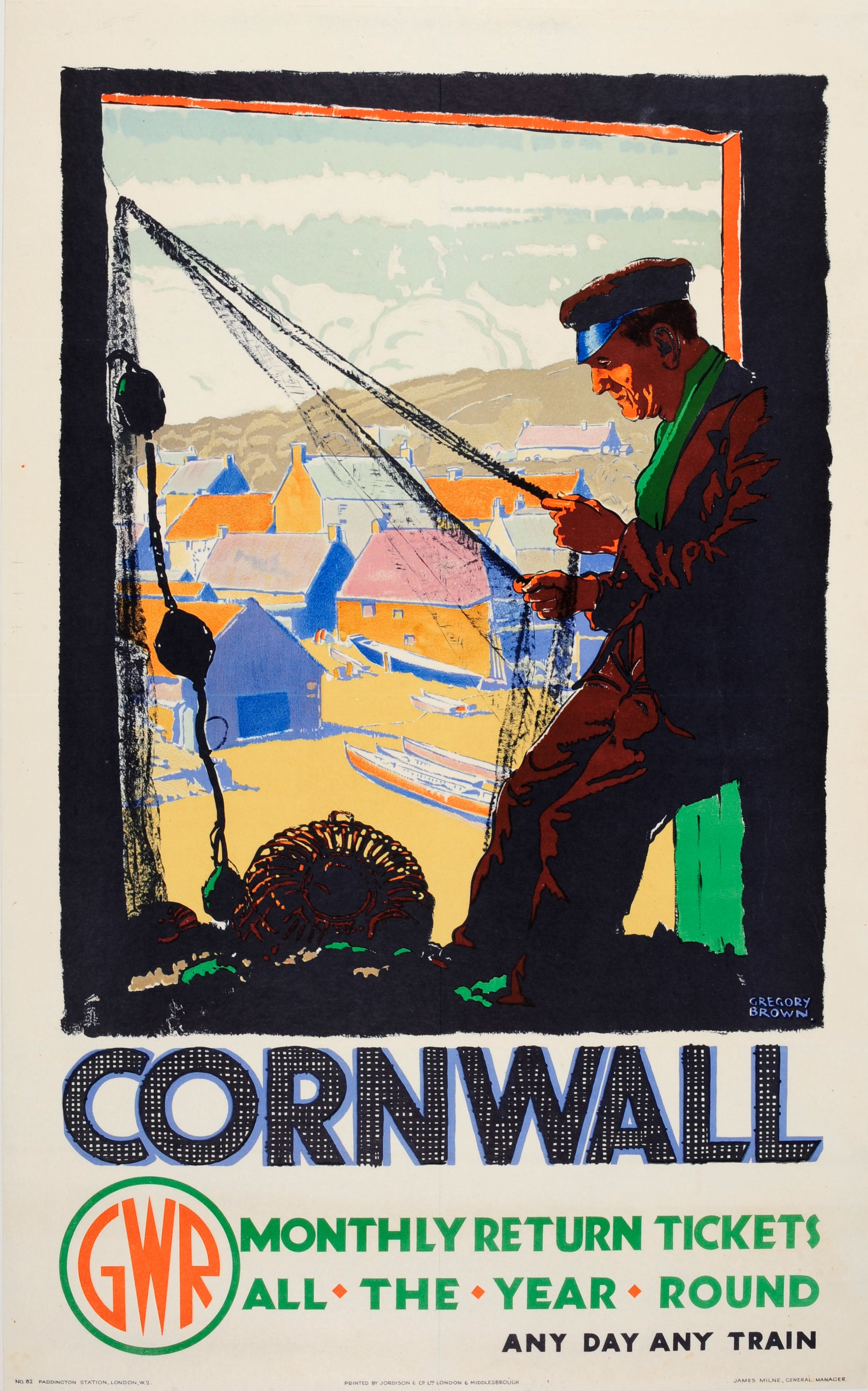 Original Vintage GWR Great Western Railway Travel Poster For Cornwall By Train