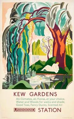Original Vintage London Transport Poster For Kew Gardens By London Underground