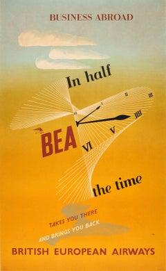 Original Vintage Midcentury British European Airways Poster For Business Abroad