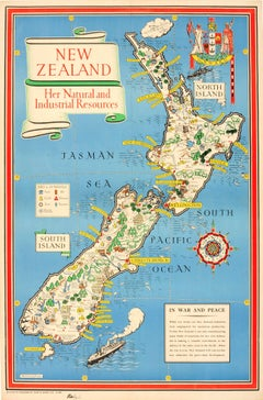 Original WWII Map Of New Zealand - Natural & Industrial Resources In War & Peace