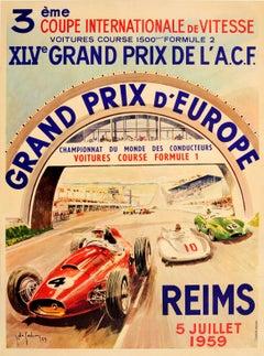 Original Formula One Motor Racing Poster For The Grand Prix d'Europe Reims 1959