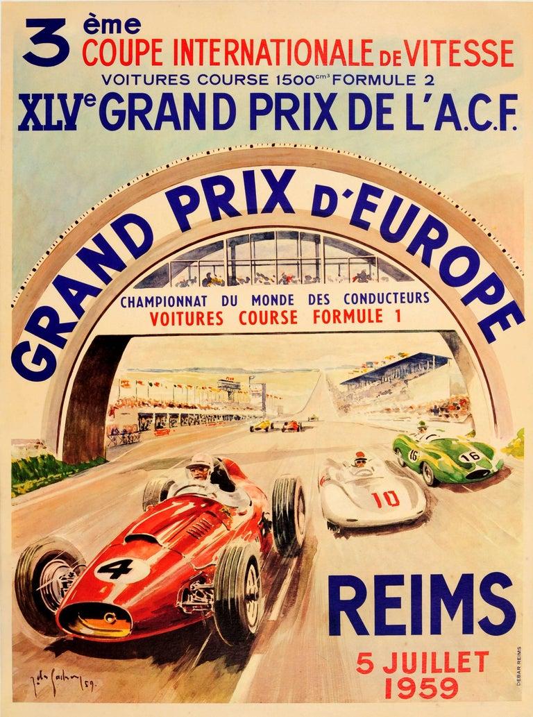 Jean Des Gachons Print - Original Formula One Motor Racing Poster For The Grand Prix d'Europe Reims 1959
