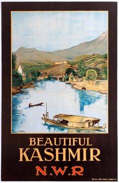 Original Vintage North Western Railway Travel Poster For Beautiful Kashmir N.W.R