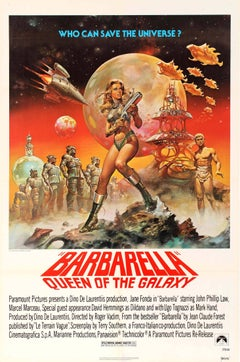 Original Barbarella Queen Of The Galaxy Movie Poster (1977 Release) - Jane Fonda