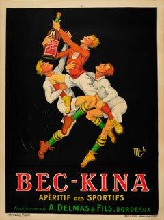 Large Original Vintage Drink Poster Ft. Rugby For Bec Kina Aperitif Des Sportifs