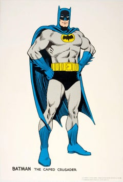 Original Vintage Comic Book Superhero Poster Featuring Batman The Caped Crusader