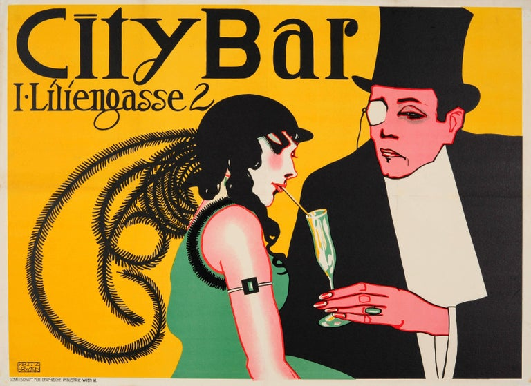 Original Vienna Secessionism Design Poster For City Bar - Now Eden Bar - Austria