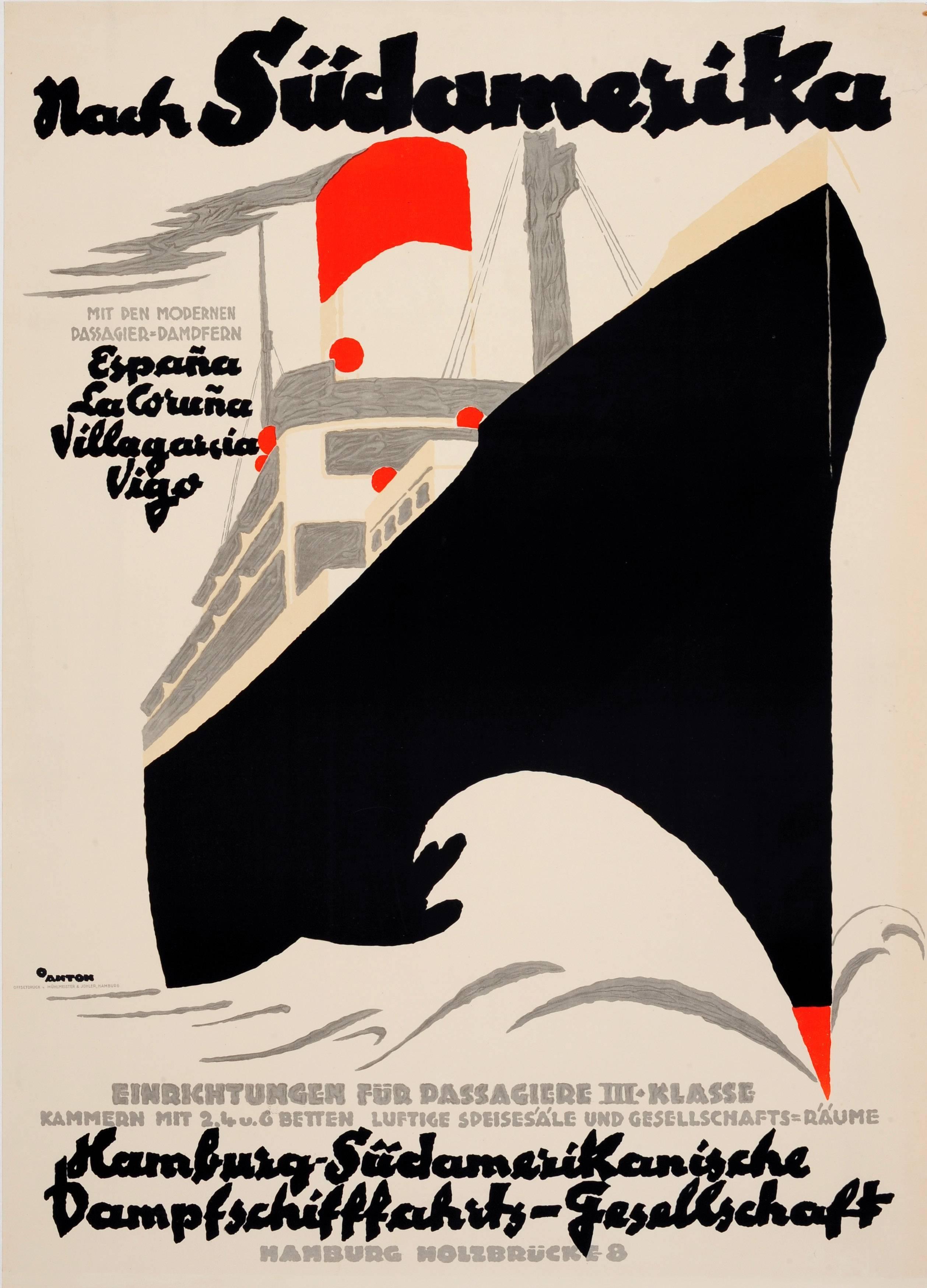 Original Vintage Hamburg America Line Cruise Ship Travel Poster To South America