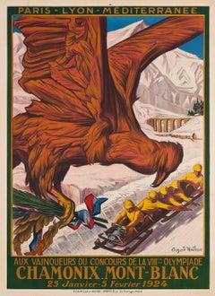 Original 1924 Winter Olympics Poster - VIIIe Olympiade Chamonix Mont Blanc - PLM