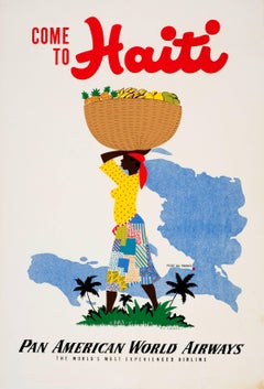 Original Vintage Pan Am Travel Poster - Come To Haiti Pan American World Airways