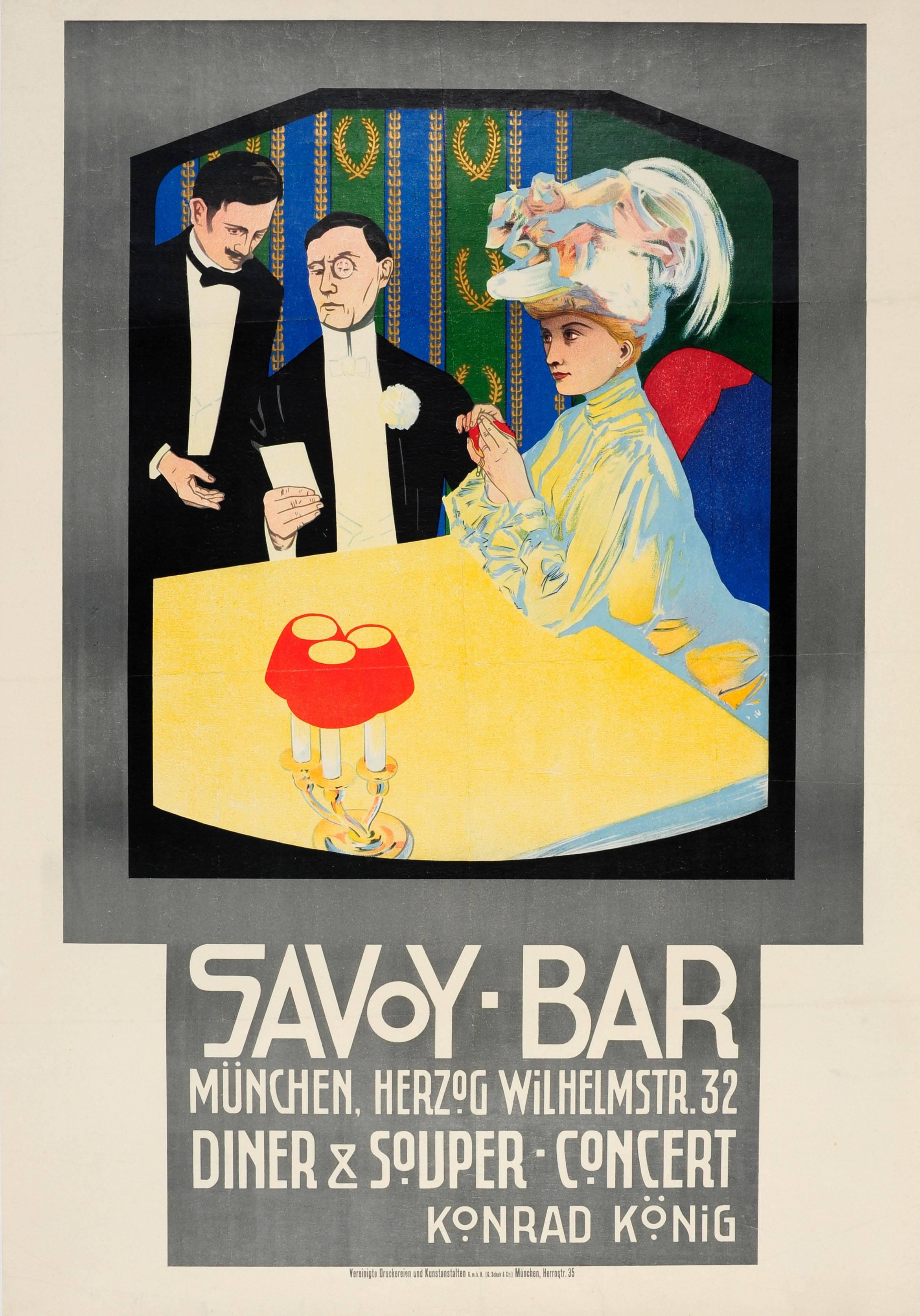 Original Antique Poster For A Dinner Concert At The Savoy Bar Munchen / Munich