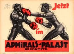 Original Early Admiralspalast Boxkampf Poster - Boxing At Admiral Palace Berlin