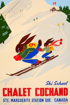 Original Winter Sport Poster Ski School Chalet Cochand Laurentians Quebec Canada