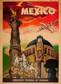 Original Vintage Art Deco Style Mexico Travel Poster Ft. Mexico City Monuments