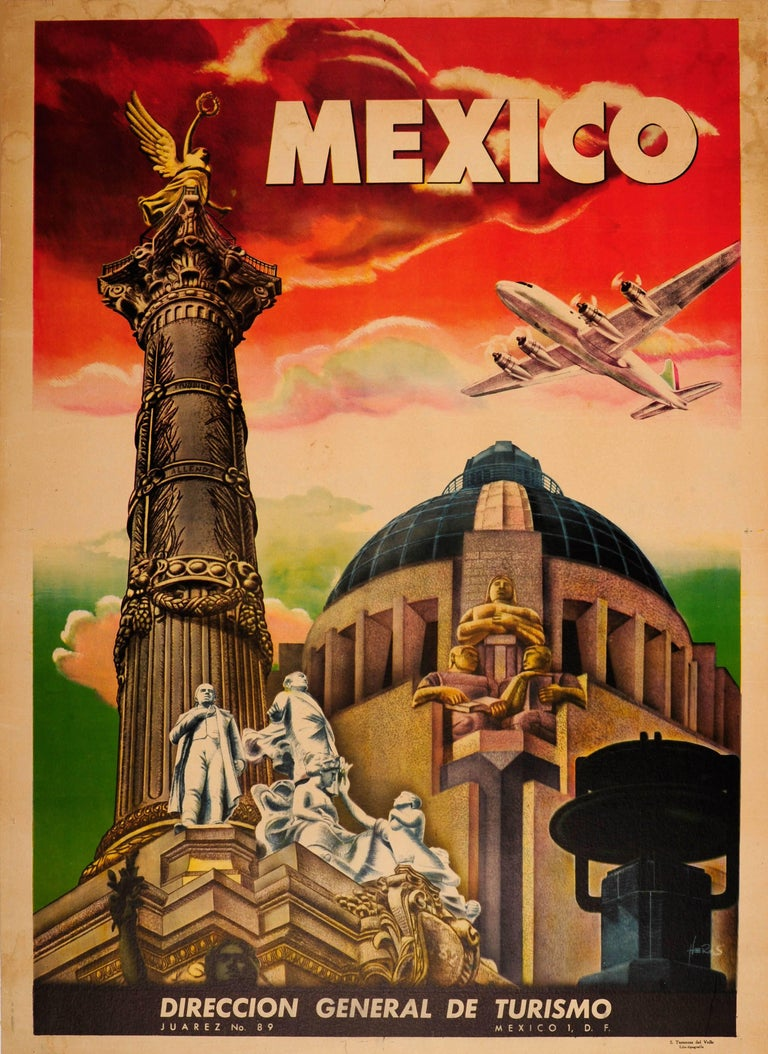 Unknown print original vintage art deco style mexico travel poster ft mexico city monuments