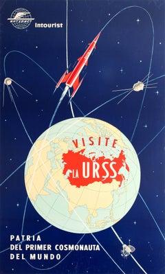 Original Vintage Soviet Poster Visit USSR Home Of The First Cosmonaut Intourist
