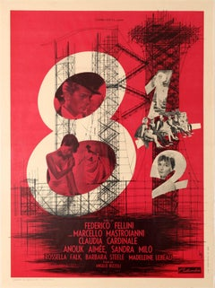 Original Vintage Federico Fellini Movie Poster 8½ Starring Marcello Mastroianni