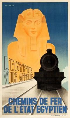 Original Vintage Art Deco Style Egyptian National Railway Poster Egypt Calls You