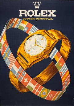 Original Vintage Poster For Rolex Oyster Perpetual Swiss Luxury Watch Models