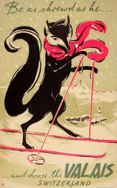 Original Vintage Swiss Winter Sport Ski Poster For Valais Verbier Zermatt Ft Fox