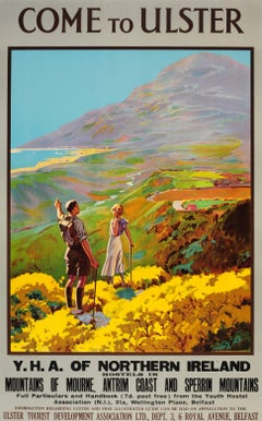 Original Vintage Youth Hostel Association Travel Poster - Come To Ulster Ireland