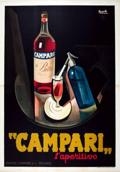 Large Original Vintage Art Deco Campari l'Aperitivo Bitter Aperitif Drink Poster