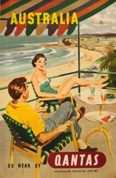Original Vintage Mid Century Travel Poster - Australia So Near By Qantas Airline
