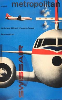 Original Vintage Modernism Design Poster Swissair Convair Metropolitan Airliner