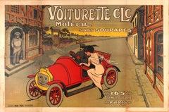 Large Early Original Antique Car Poster For The Voiturette CLC Automobile Paris