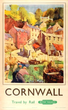 Original Vintage British Railways Poster For Cornwall Travel By Rail Ft. Harbour