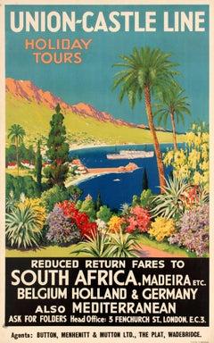 Original Vintage Union Castle Line Poster Promoting Cruise Ship Holiday Tours