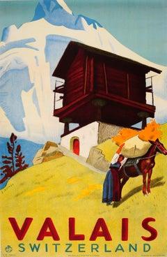 Original Vintage Valais Switzerland Travel Poster Ft. Countryside Mountain View